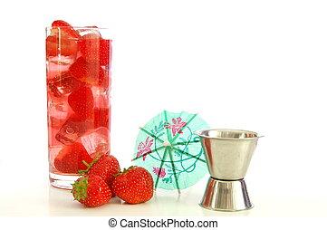 fresa, verano, bebida