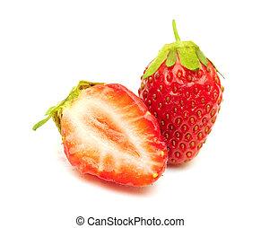 fresas, aislado, blanco