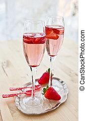 fresas, champaña