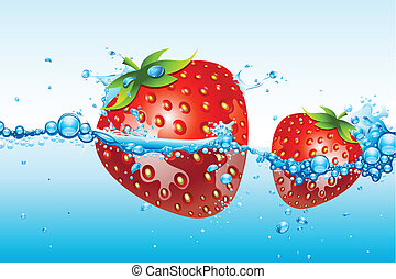 fresas frescas, en, agua