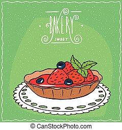 fresas frescas, servilleta, tartlet, de encaje