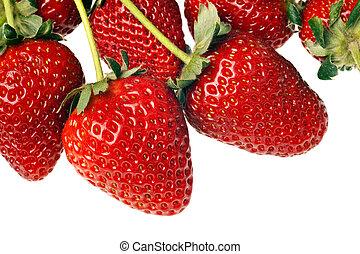 fresas, maduro, rojo