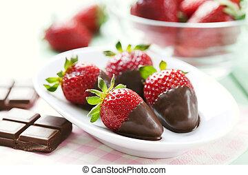 fresas, mojado, chocolate