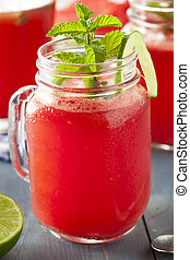 fresca, caseiro, melancia, refrescar, agua