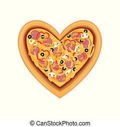 frescamente, cuore, cima, isolato, illustrazione, forma, vettore, fondo, bianco, pizza, cotto, vista