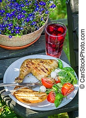 frescamente, servito, barbeque, cena, giardino