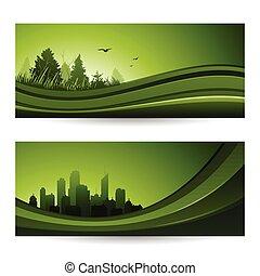fresco, abstrato verde, natureza, bandeira, com, árvores, e, cityscape