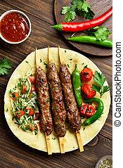 fresco, adana, vegetales, flatbread, kebab, turco