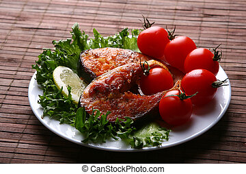fresco, aderezo, salmón, ensalada