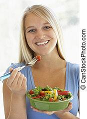 fresco, adolescente, comer, menina, salada