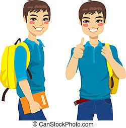 fresco, adolescente, studente