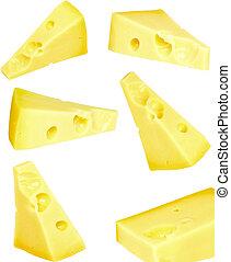 fresco, aislado, collage, pedazo, white., queso