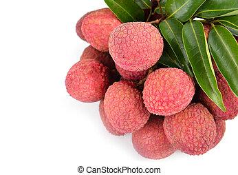 fresco, aislado, lychees