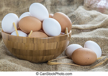 fresco, alcance livre, ovos