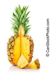 fresco, ananas, fruta, corte