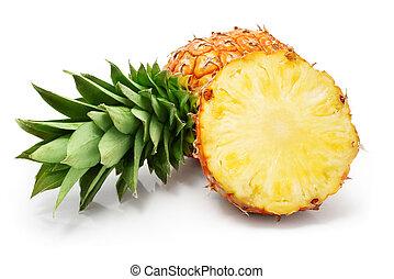 fresco, ananas, frutte, con, taglio, e, congedi verdi