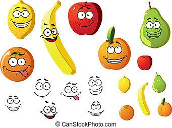 fresco, apetitoso, caricatura, fruits