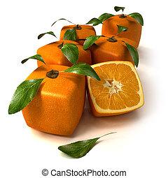 fresco, arance, cubico
