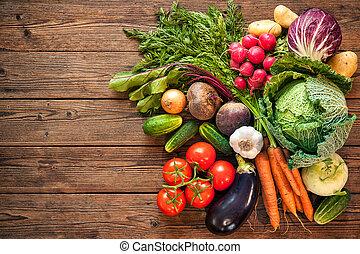 fresco, assortimento, verdura