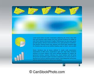 fresco, azul, sitio web, diseño, plantilla