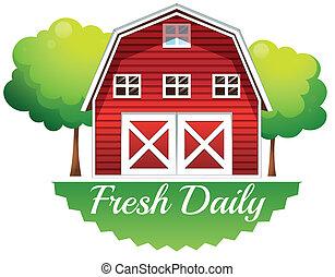fresco, barnhouse, diariamente, etiqueta