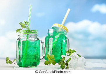 fresco, bebida, hortelã, gelo