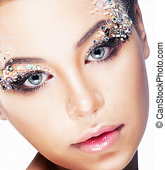 fresco, beleza, rosto mulher, closeup