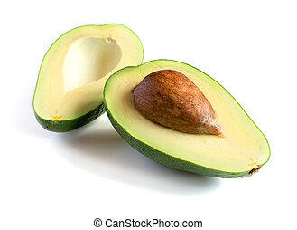 fresco, bianco, avocado, isolato