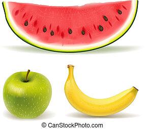fresco, bianco, set, fondo, frutta