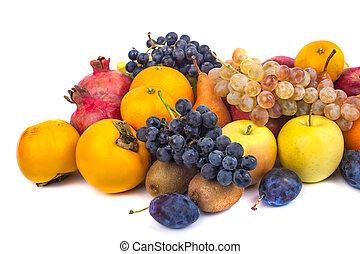 fresco, blanco, aislado, plano de fondo, fruits