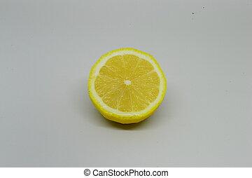 fresco, blanco, limón, aislado, plano de fondo