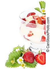 fresco, blanco, pudín, fruits
