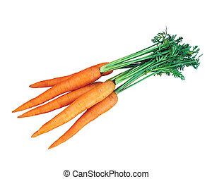 fresco, blanco, zanahorias, aislado