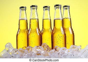 fresco, botellas de cerveza, frío, hielo