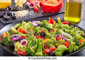 fresco, brócolos, verão, salada, vista superior
