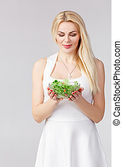 fresco, branca, mulher, vestido, salada