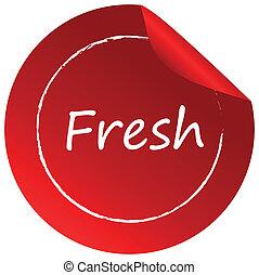 fresco, círculo, etiqueta