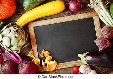 fresco, cadere, ingredienti cucinare, intorno, uno, ardesia