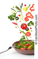 fresco, cadere, verdura, insalata
