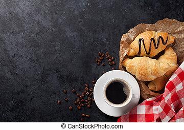 fresco, café, croissants