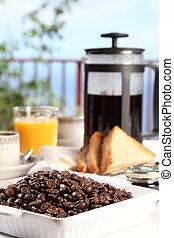 fresco, café, em, tabela pequeno almoço
