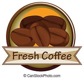 fresco, café, etiqueta