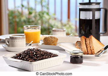 fresco, café manhã, em, pequeno almoço