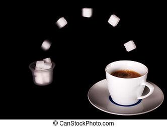 fresco, café, voando, açúcar