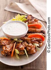 fresco, caldo, vegetables., ali, formaggio, blu, pollo, salsa, bufalo
