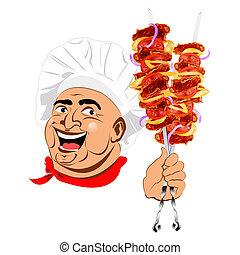 fresco, caliente, delicioso, kebab shish
