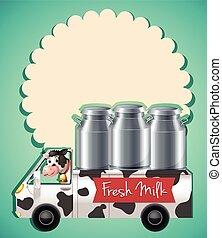 fresco, caminhão, leite