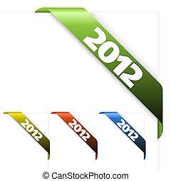 fresco, canto, fita, ligado, um, branca, papel, com, 2012