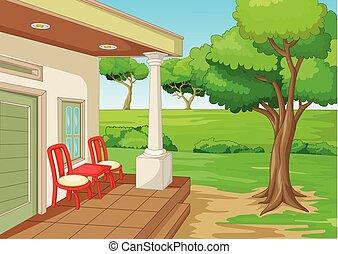 fresco, caricatura, terraza