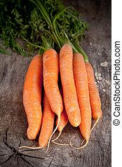 fresco, carote, su, tavola legno